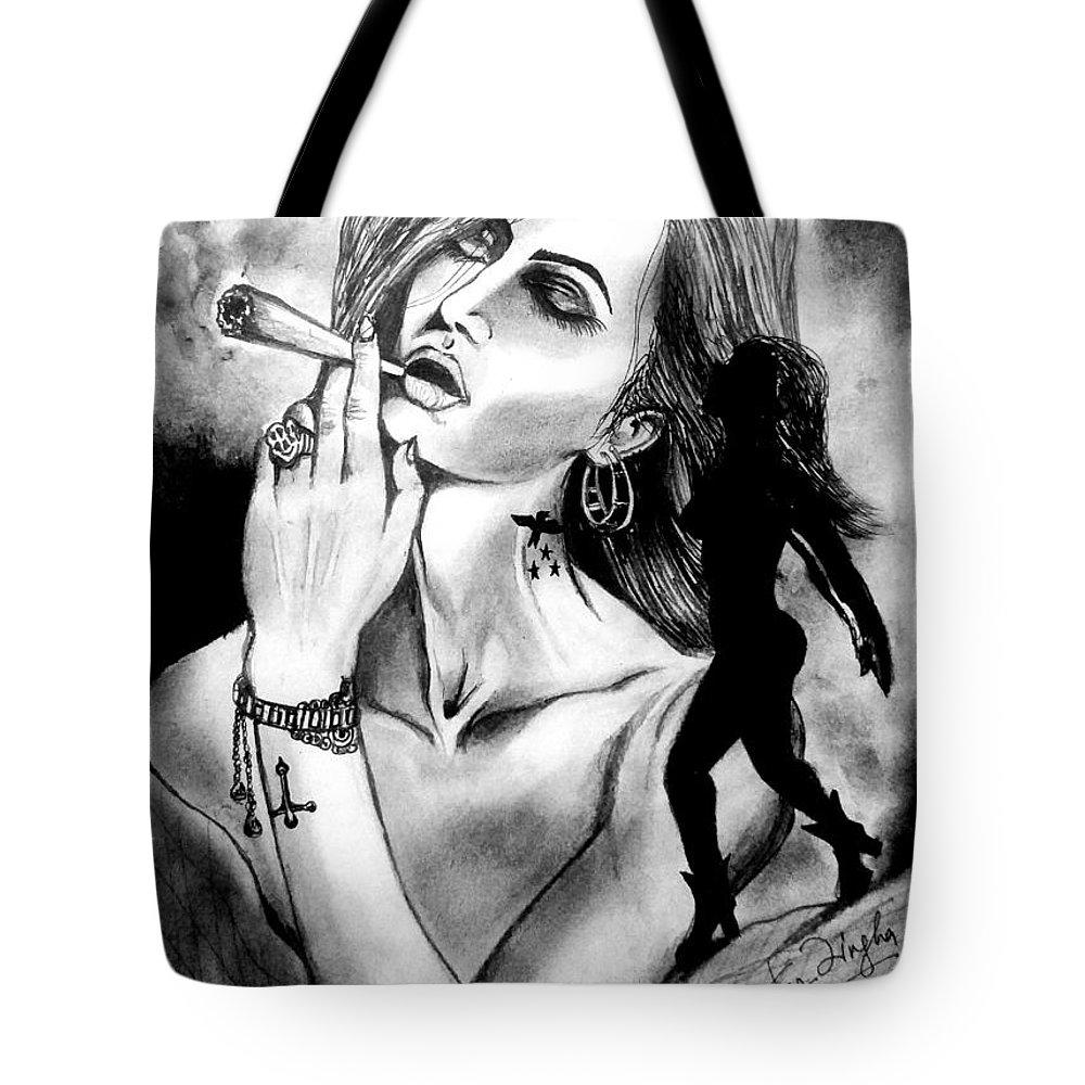 Tote Bag featuring the drawing Elegance by Shubhankar Singha