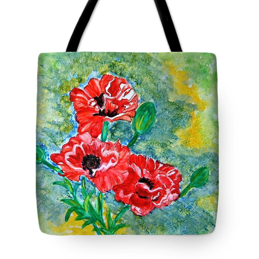 Poppies Flowers Red Yellow Green Blue Acrylic Watercolor Yupo Elegant Landscape Tote Bag featuring the painting Elegant Poppies by Manjiri Kanvinde