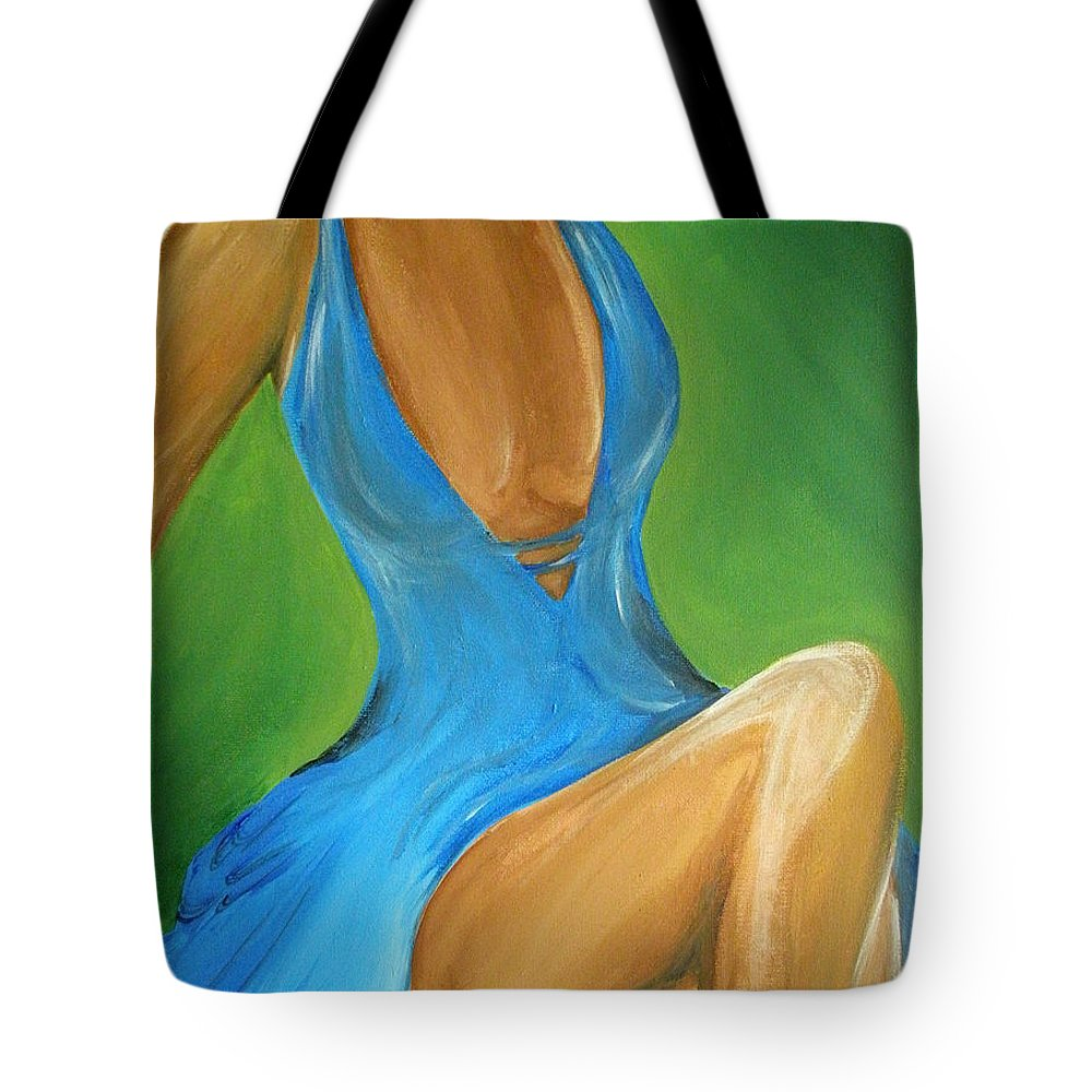 Woman Tote Bag featuring the painting Elegant Seduction by Kayon Cox
