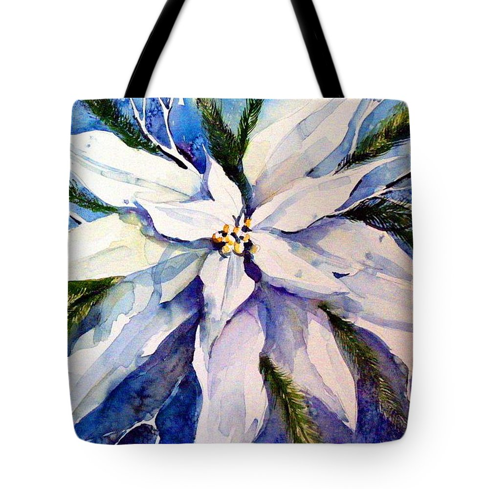 Christmas Tote Bag featuring the painting Elegant White Christmas by Mindy Newman