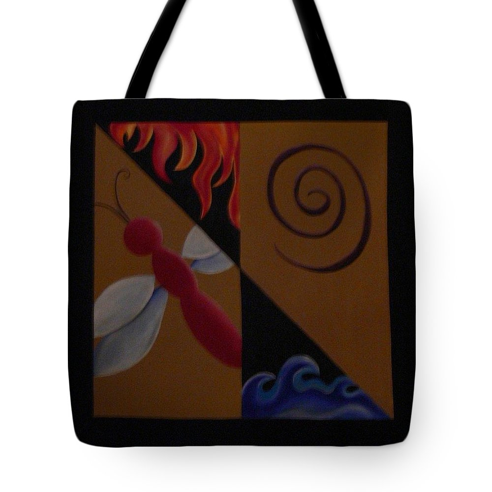 Dragonfly Tote Bag featuring the painting Elements by Serina Wells