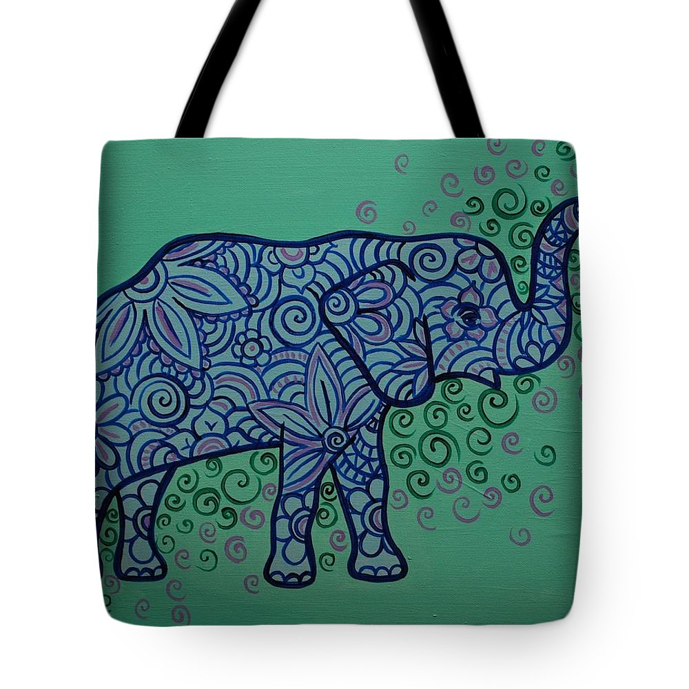 Elephant Tote Bag featuring the painting Elephant Dreams by Emily Page
