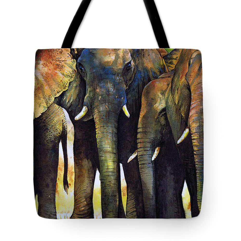 Elephant Tote Bag featuring the painting Elephant Herd by Paul Dene Marlor