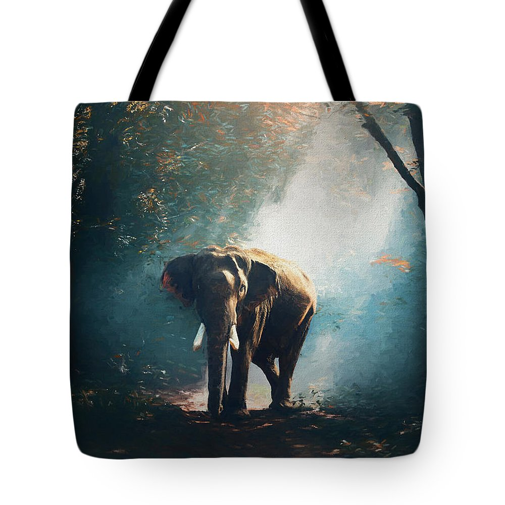 Elephant Tote Bag featuring the painting Elephant In The Mist - Painting by Ericamaxine Price