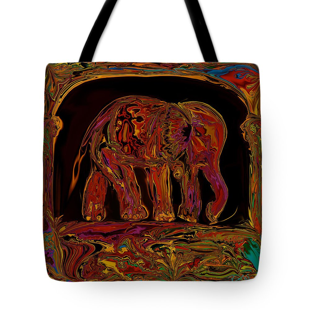 Animal Tote Bag featuring the digital art Elephant by Rabi Khan