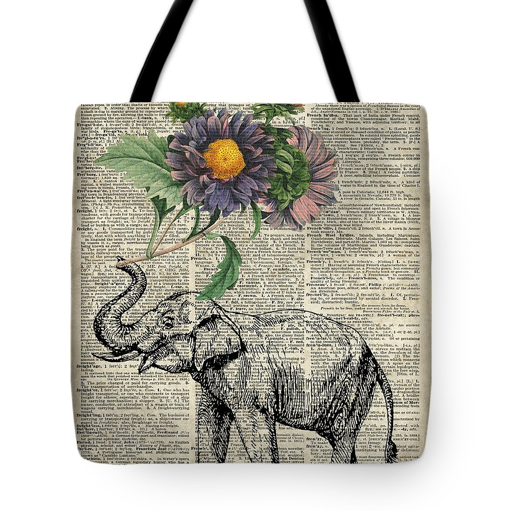 Elephant Tote Bag featuring the digital art Elephant With Flowers by Anna W