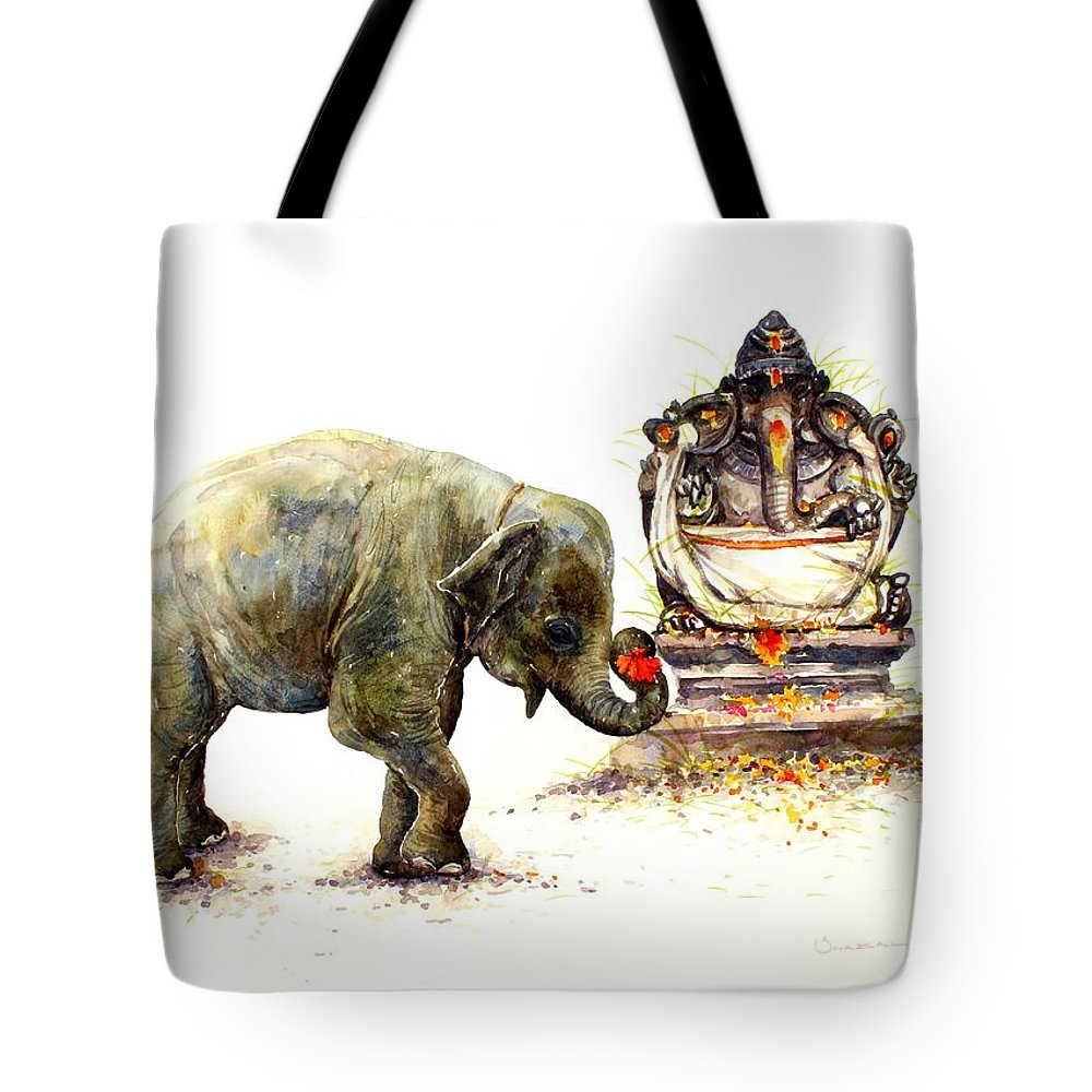 Painting Tote Bag featuring the painting Elephant With Ganesha by Siva Balan