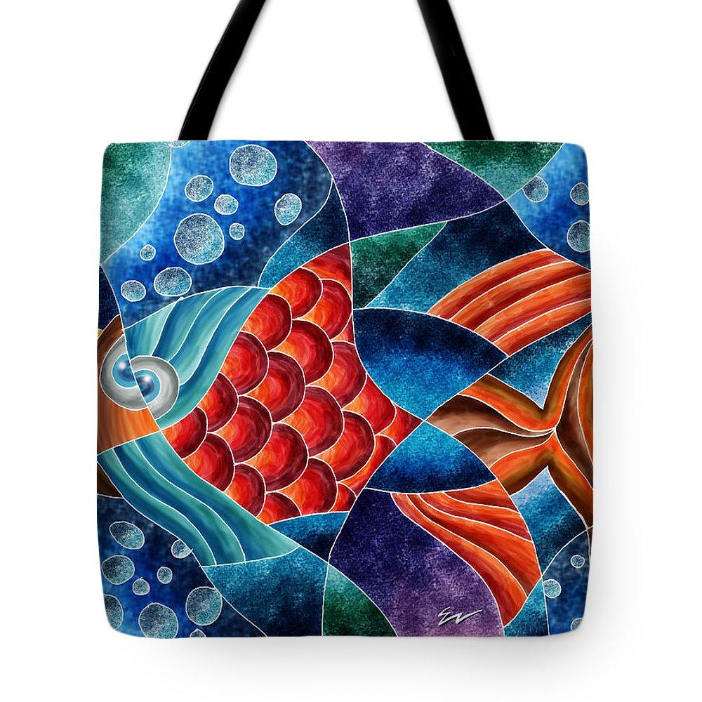Digital Art Tote Bag featuring the digital art Eletric Fish by Eduardo Natario