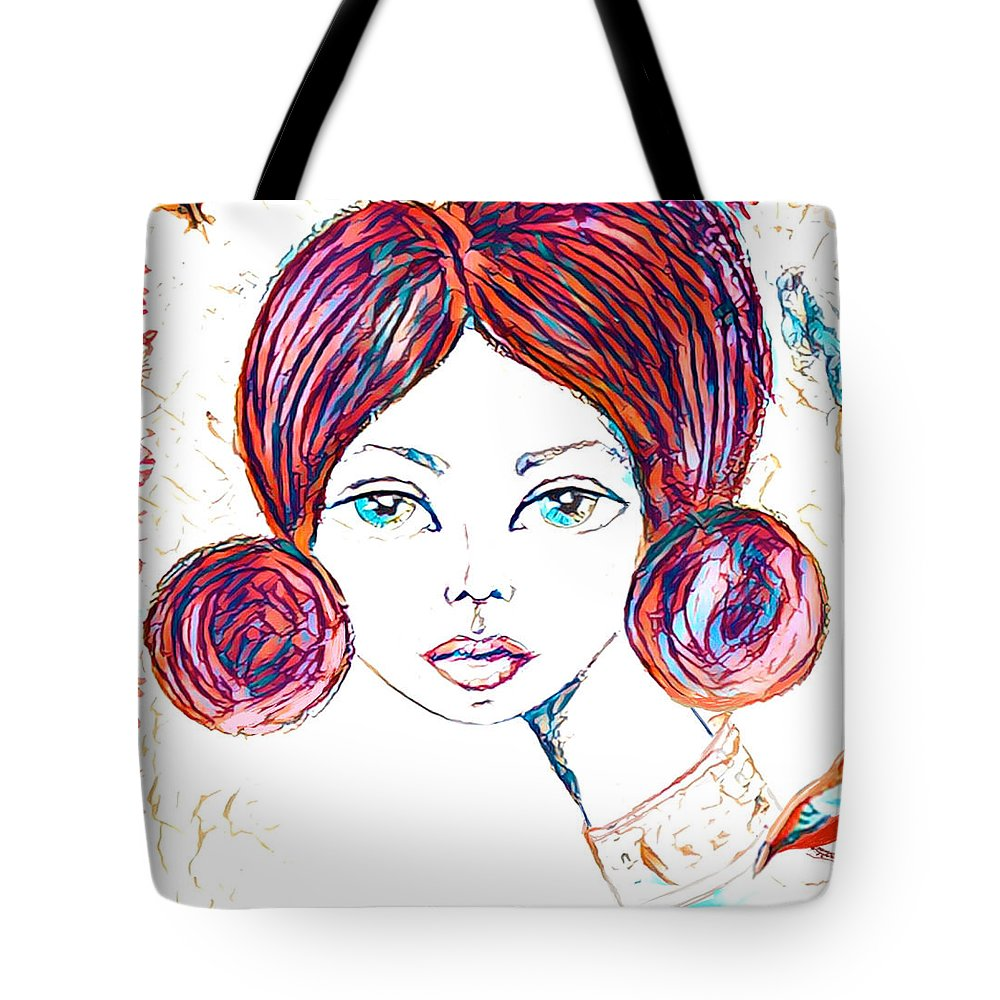 Portrait Tote Bag featuring the painting Elise 2 by Vanessa Katz