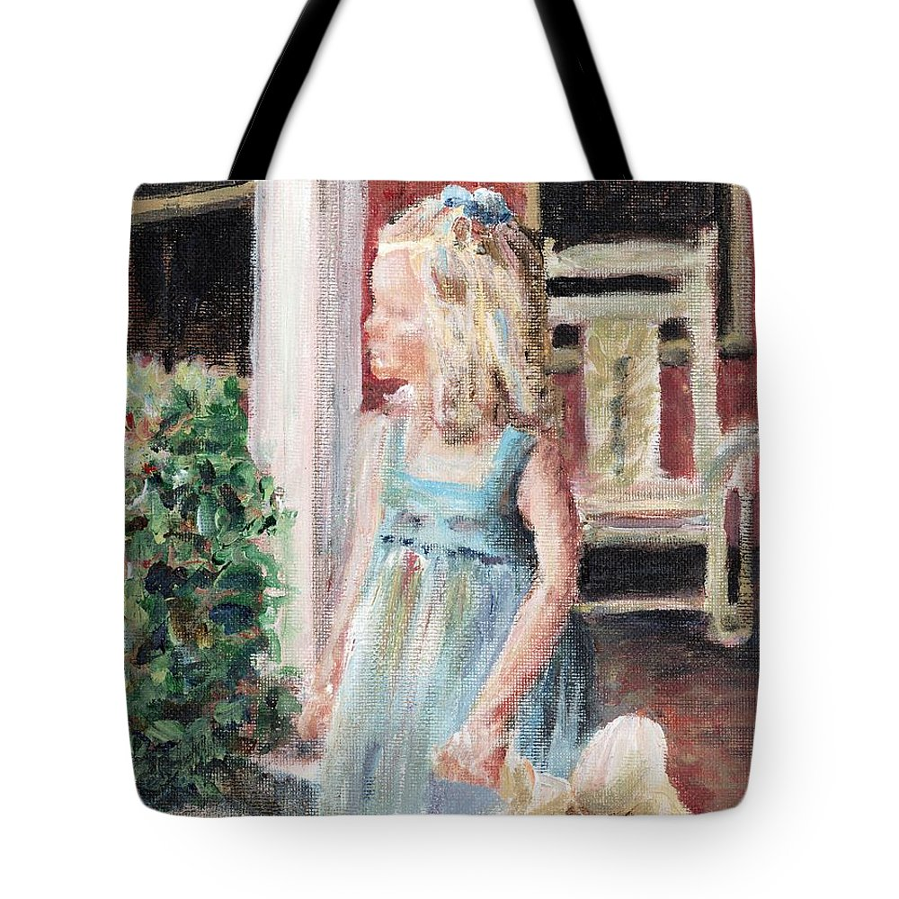 Girl Tote Bag featuring the painting Elizabeth Anne by Nadine Rippelmeyer