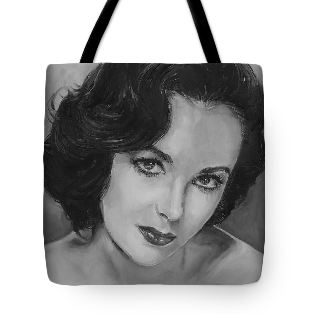Elizabeth Taylor Tote Bag featuring the painting Elizabeth Taylor by Alex Krasky