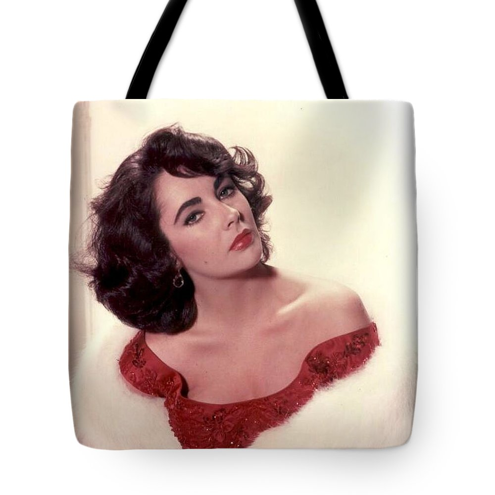 Tote Bag featuring the photograph Elizabeth Taylor Diamond Are Forever With Her Collectin by Peter Nowell