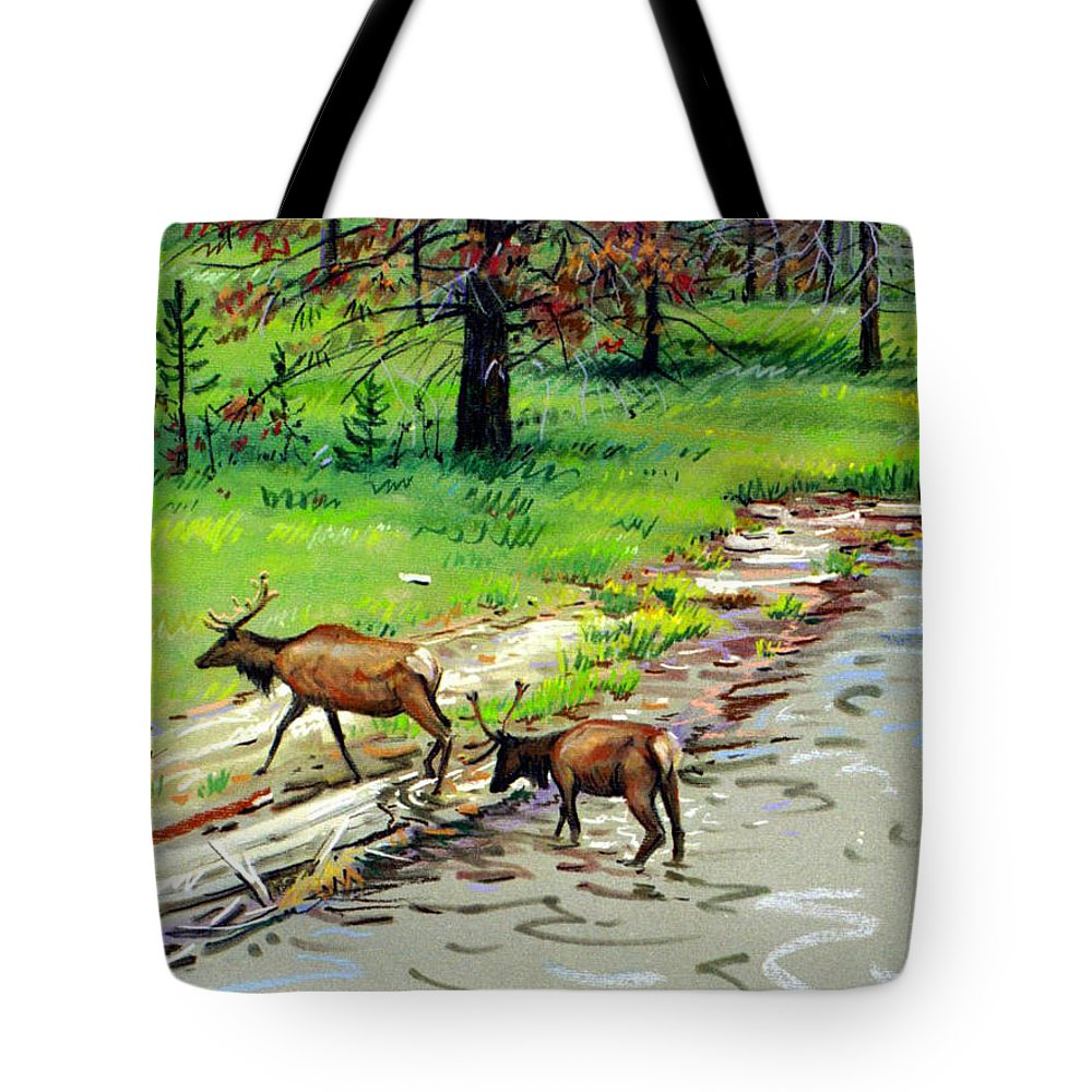 Elks Tote Bag featuring the painting Elks Crossing by Donald Maier