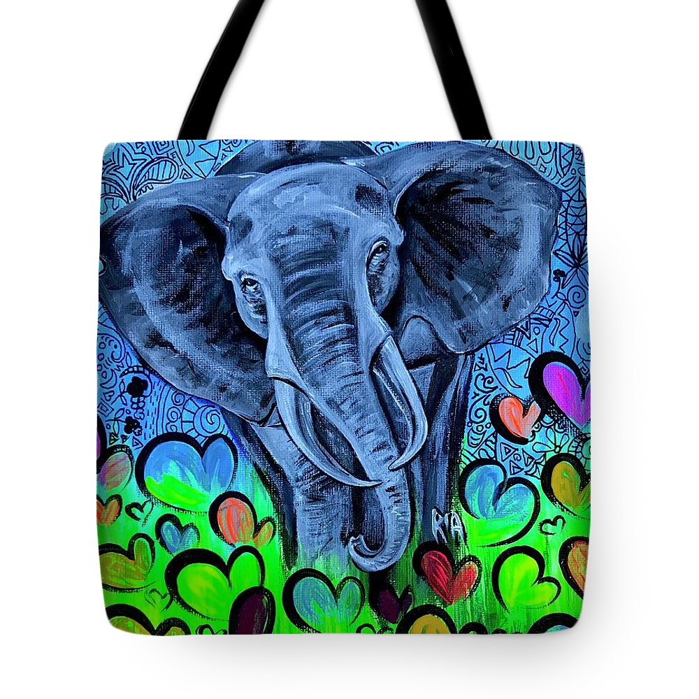 Elephant Tote Bag featuring the painting Elley by Artist RiA