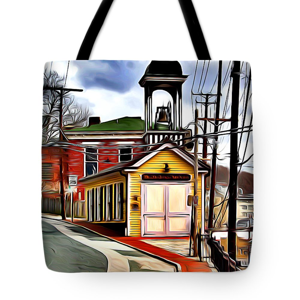 Ellicott Tote Bag featuring the digital art Ellicott City Fire Museum by Stephen Younts