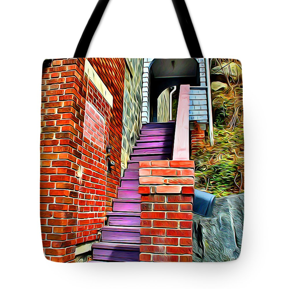 Ellicott Tote Bag featuring the digital art Ellicott City Steps by Stephen Younts
