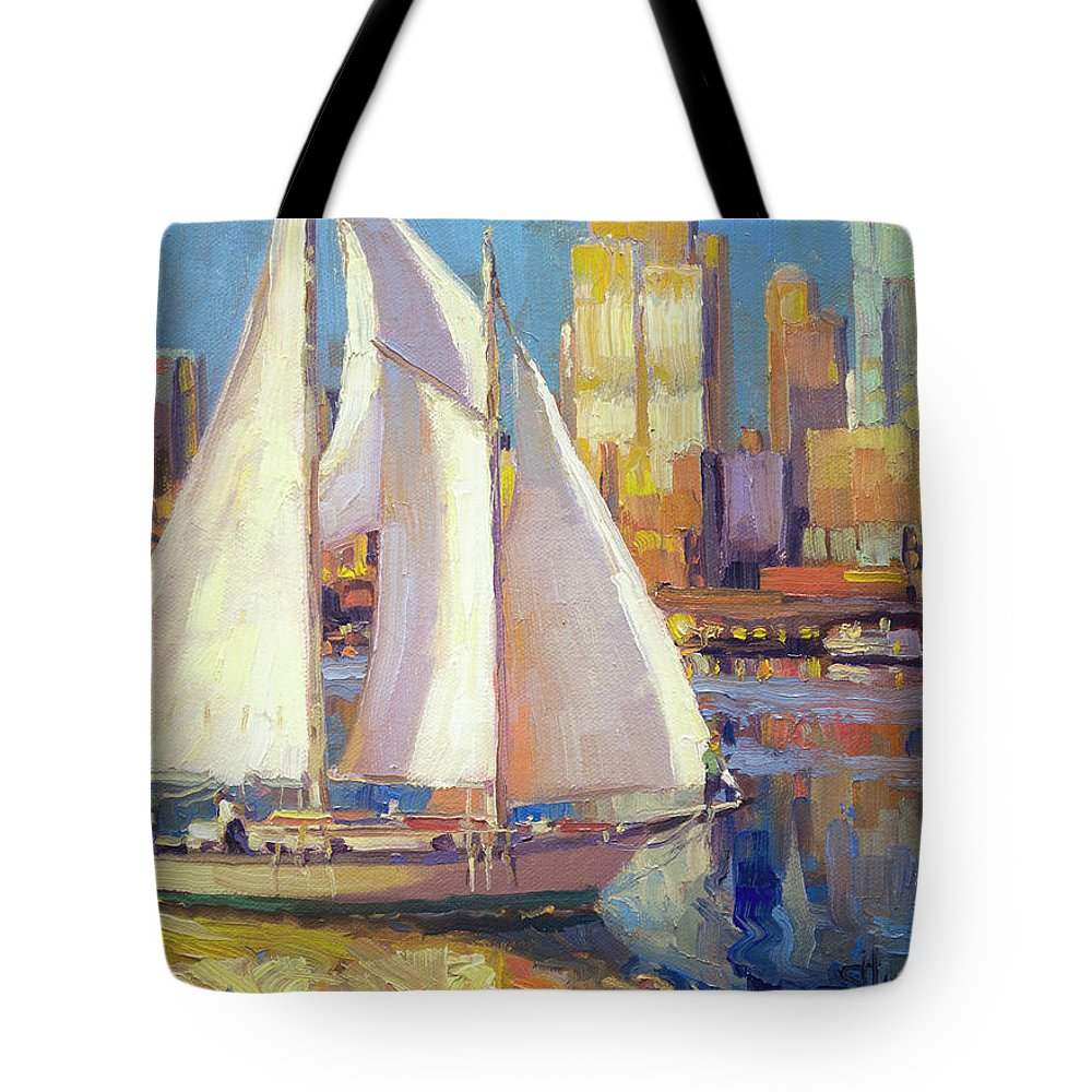 Seattle Tote Bag featuring the painting Elliot Bay by Steve Henderson