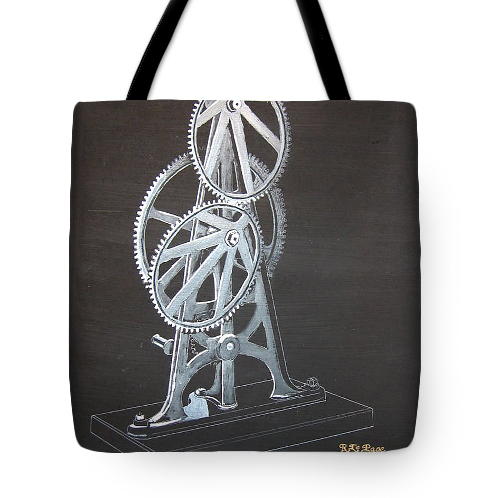 Elliptical Gears Tote Bag featuring the painting Elliptical Gears by Richard Le Page