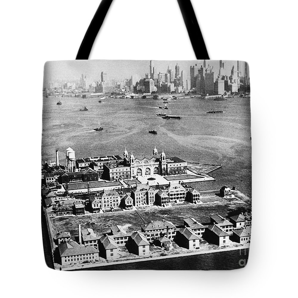 1933 Tote Bag featuring the photograph Ellis Island, 1933 by Granger