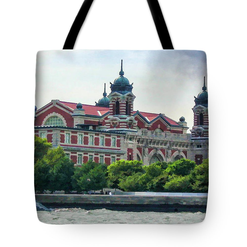 New York Tote Bag featuring the photograph Ellis Island by Dave Thompsen