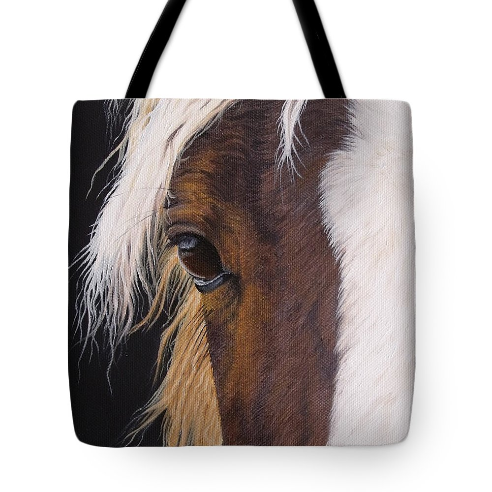 Portrait Tote Bag featuring the painting Ellroy by Pauline Sharp