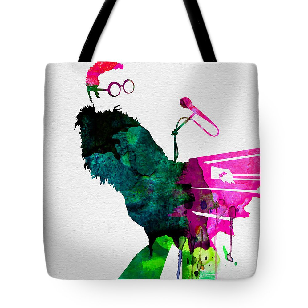 Elton Tote Bag featuring the painting Elton Watercolor by Naxart Studio