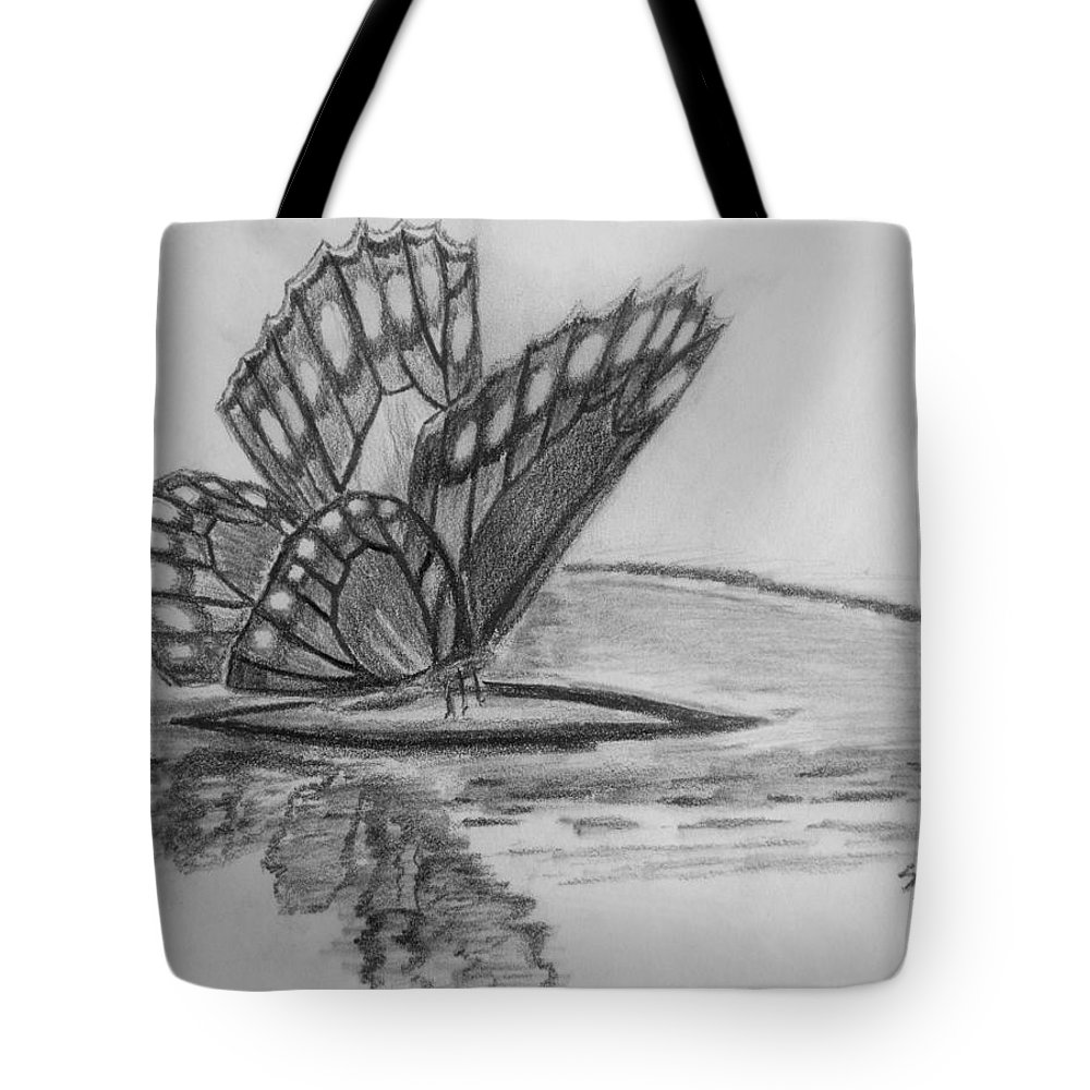 Butterfly Tote Bag featuring the digital art Elusive Beauty by Shelley Blair