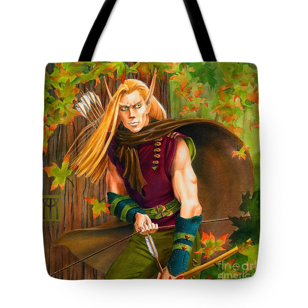 Elf Tote Bag featuring the painting Elven Hunter by Melissa A Benson