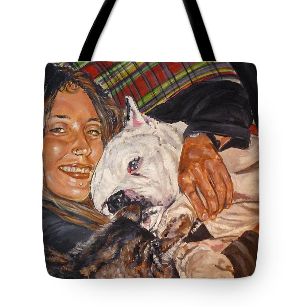 Pet Tote Bag featuring the painting Elvis And Friend by Bryan Bustard