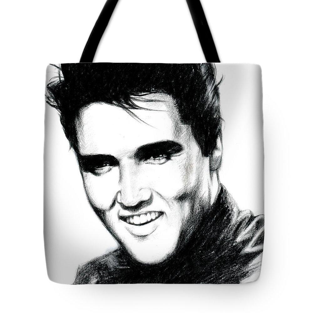 Elvis Tote Bag featuring the drawing Elvis by Lin Petershagen