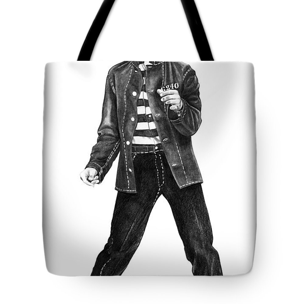 Elvis Tote Bag featuring the drawing Elvis Presley  by Murphy Elliott