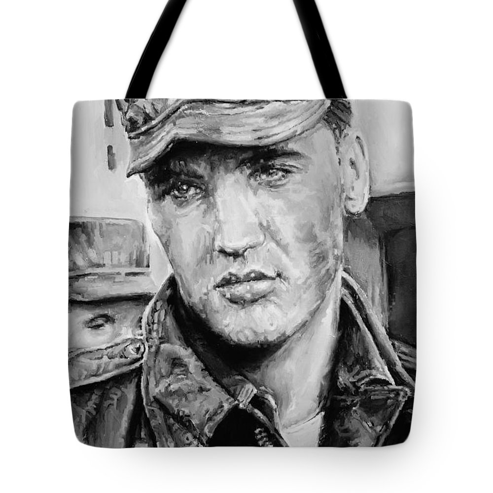 Oil On Canvas Tote Bag featuring the painting Elvis Presley by Alex Krasky