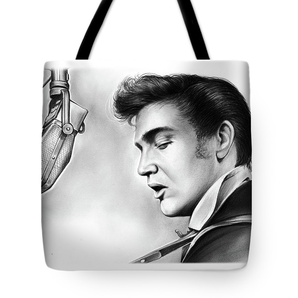 Elvis Tote Bag featuring the drawing Elvis Presley by Greg Joens