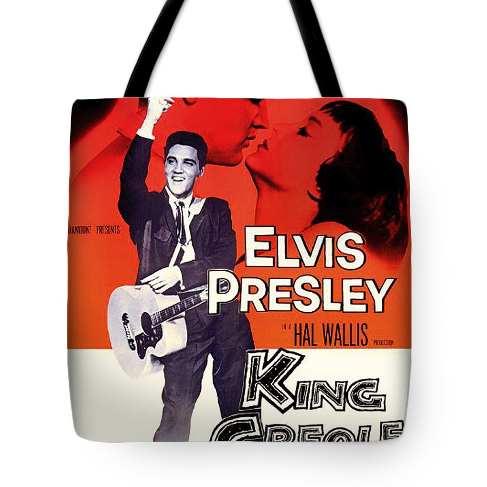 Movie Tote Bag featuring the mixed media Elvis Presley In King Creole 1958 by Mountain Dreams