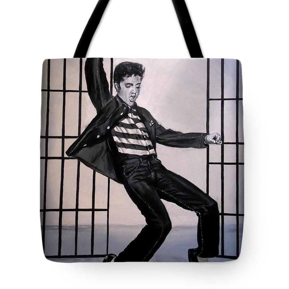 Elvis Presley Tote Bag featuring the painting Elvis Presley Jailhouse Rock by Eric Dee