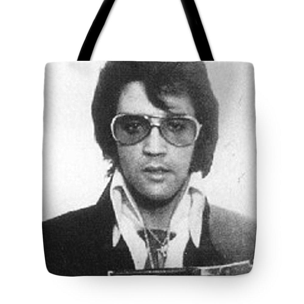 Elvis Presley Tote Bag featuring the painting Elvis Presley Mug Shot Vertical by Tony Rubino