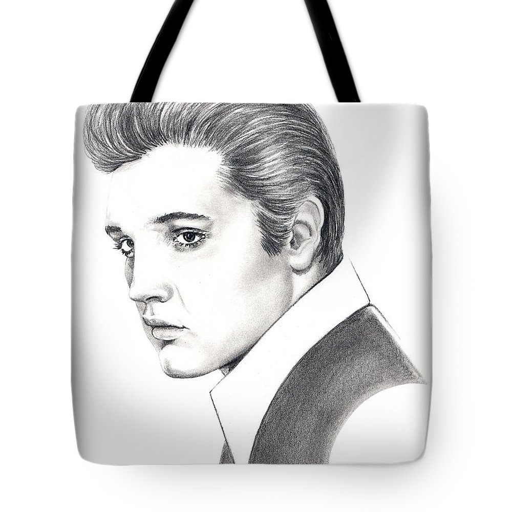 Pencil. Portrait Tote Bag featuring the drawing Elvis Presley by Murphy Elliott