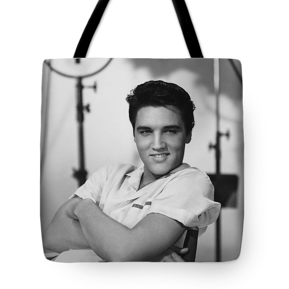 Tote Bag featuring the photograph Elvis Presley On Set During Movie Making by Peter Nowell