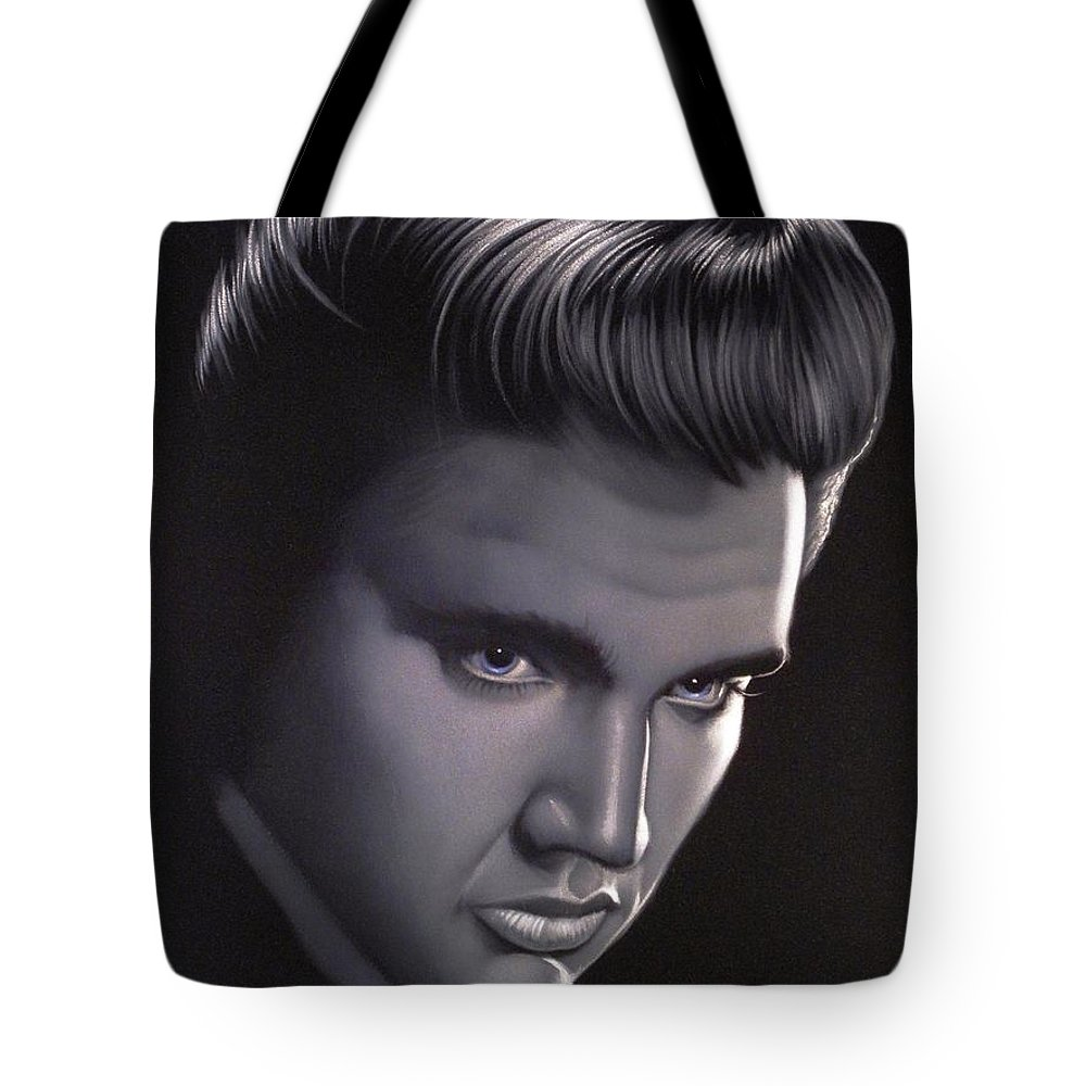 Velvet Painting Tote Bag featuring the painting Elvis Presley Portrait by Ramirez