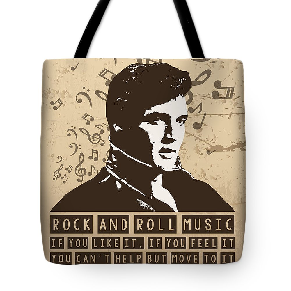 Elvis Presley Poster Print Quote Rock And Roll Music Tote Bag For