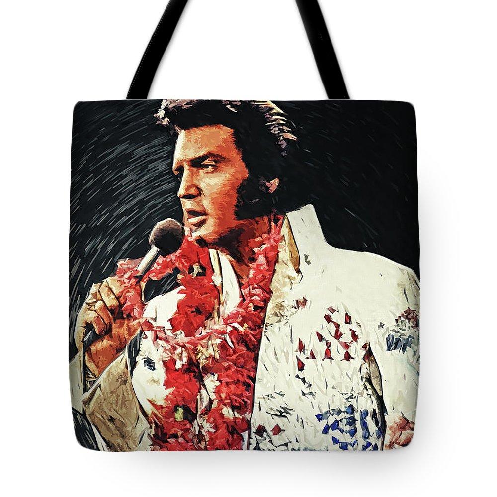Elvis Presley Tote Bag featuring the digital art Elvis Presley by Zapista OU