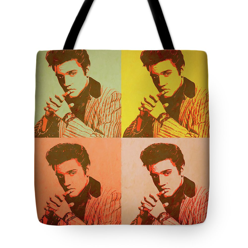 Elvis Retro Pop Art Tote Bag featuring the painting Elvis Retro Pop Art by Dan Sproul
