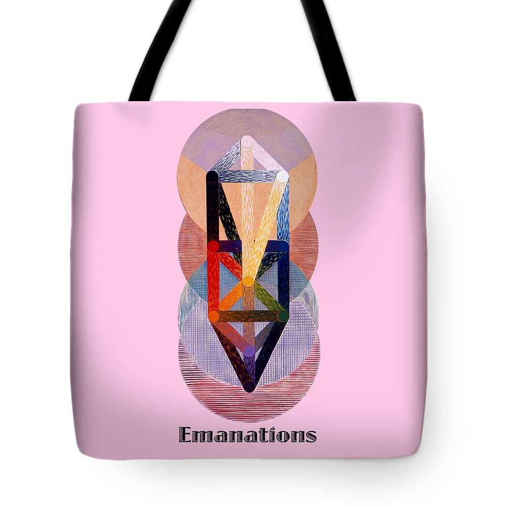 Painting Tote Bag featuring the painting Emanations text by Michael Bellon