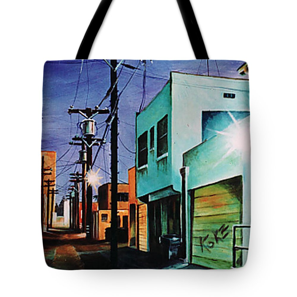 Alley Tote Bag featuring the painting Emerald Alley by Duke Windsor