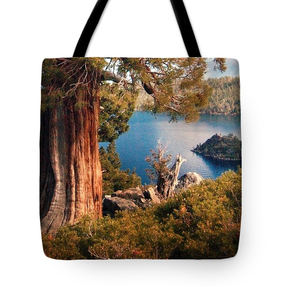 California Scenes Tote Bag featuring the photograph Emerald Bay Overlook by Norman Andrus