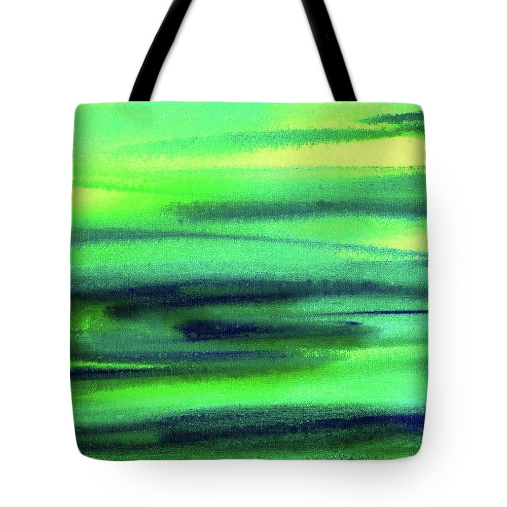 Emerald Tote Bag featuring the painting Emerald Flow Abstract Painting by Irina Sztukowski