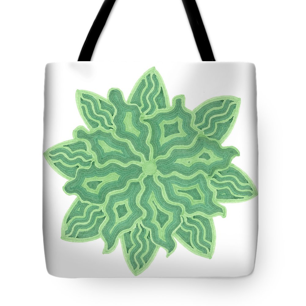 Flower Tote Bag featuring the drawing Emerald Flower by Jill Lenzmeier