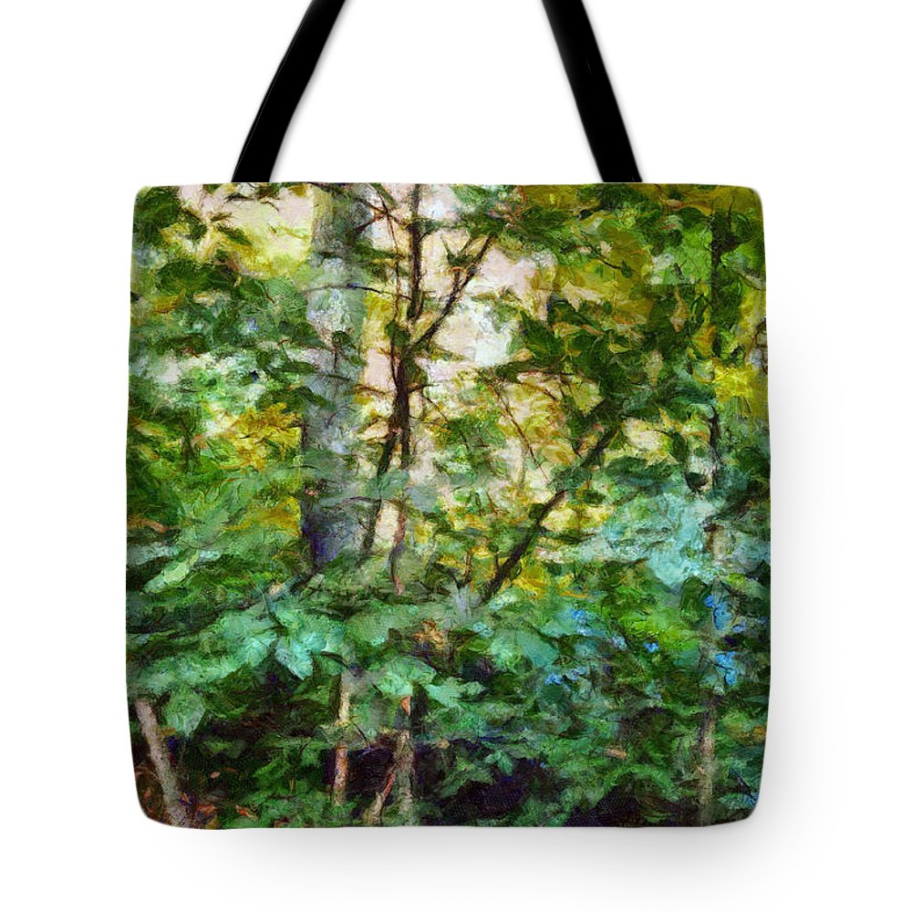 emerald forest impression tote bag for sale by ann powell. Black Bedroom Furniture Sets. Home Design Ideas