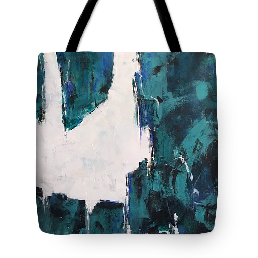 Abstract Art Tote Bag featuring the painting Emerald Isle by Suzzanna Frank