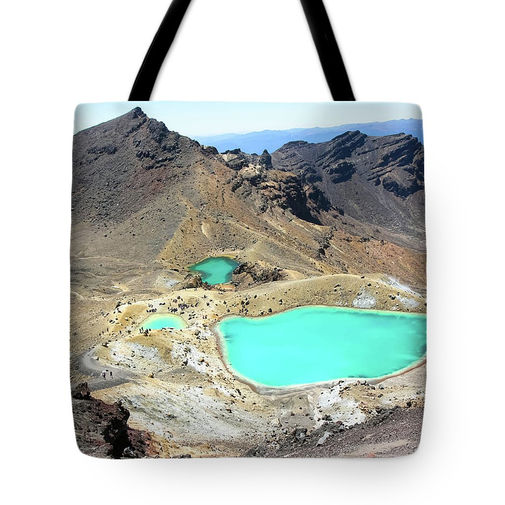 Tongariro Crossing Tote Bag featuring the photograph Emerald Lakes, New Zealand. by Patrick Civello